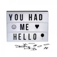 Micro USB Powered Lighted Message Board  With 180 Letters & Symbols - Black/White