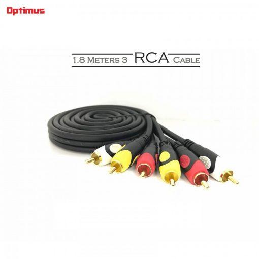 Optimus 1.8 Meters 3 RCA Cable - Black