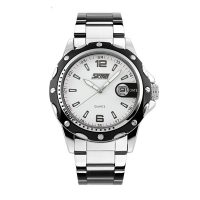 Casual Stainless Steel Analog Quartz Watch - White