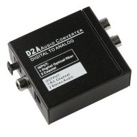 Coaxial Toslink To RCA Digital To Analog Audio Converter  - Black