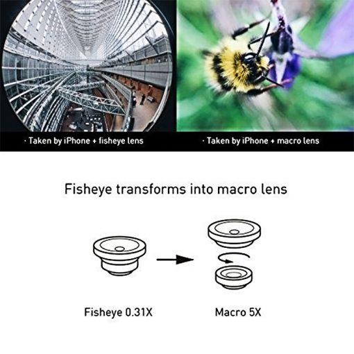 2 in 1 Camera Clip On Lens Kit Fish Eye Lens 0.31x + Macro 5x - Black