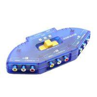 3 Input 1 Output AV Audio-Video Signal Switcher - Blue
