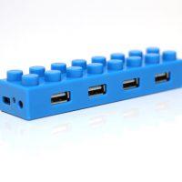 4 Port Block Type High Speed USB 2.0 Hub - Blue