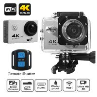 4K Ultra HD 16MP 2 Inch LCD Viewer Action Wifi Camera With Waterproof Remote Shutter - Silver