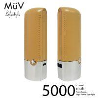 MϋV Leather Finish 5000mah Powerbank With 200 Lumen LED Flashlight - Light Orange