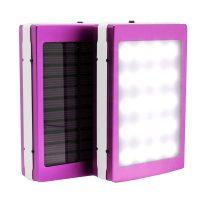 7,000 mAh Solar Power Bank With LED Panel Light - Purple