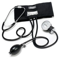 Aneroid Blood Pressure Cuff Set Sphygmomanometer with Stethoscope Kit - Black