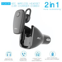 AEC 2 in 1 Wireless Bluetooth Headset Car Charger Combo - Black