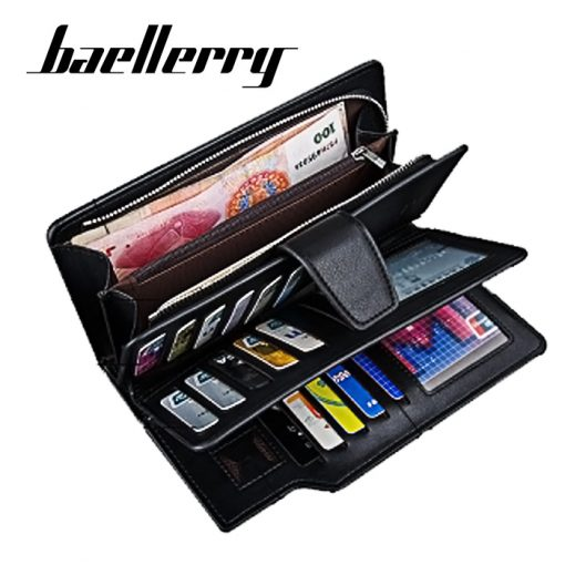Baellerry Leather Wallet with Coin Purse - Black