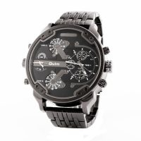 Big Dial Dual Time Stainless Watch 3548 - Black