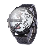 Big Dial Dual Time Stainless Watch 3548 - White