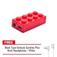 Block MP3 Player - Red FREE Block Type Earbuds Sundries Play Brick Headphones - White
