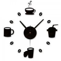 Breakfast DIY Wall Sticker Clock - Black