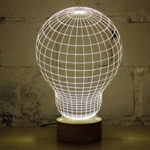 3D LED Light Bulb Shaped Table Lamp