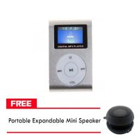Clip mp3 Player with LCD- Grey And FREE Portable Expandable Mini Speaker