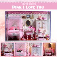 Cute Room Pink I Love You Dollhouse 19.6*10*13.5CM
