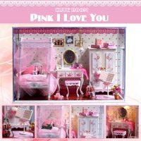 Cute Room Pink I Love You Dollhouse 19.6*10*13.5CM