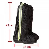 Foldable Waterproof Rain Shoes Cover With Rubber Sole Large - Black