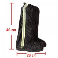 Foldable Waterproof Rain Shoes Cover With Rubber Sole XL - Black