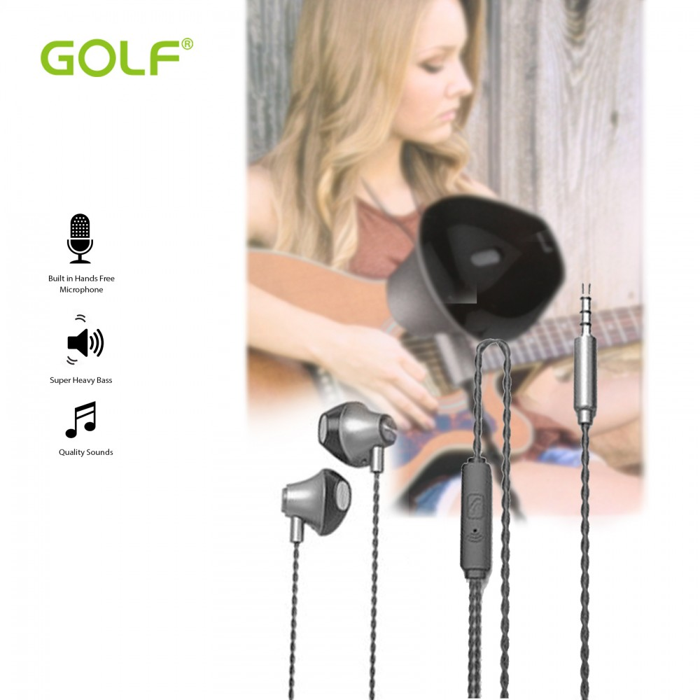 Golf M17  Small Earbuds Sport Wired Stereo Earphone - Gray