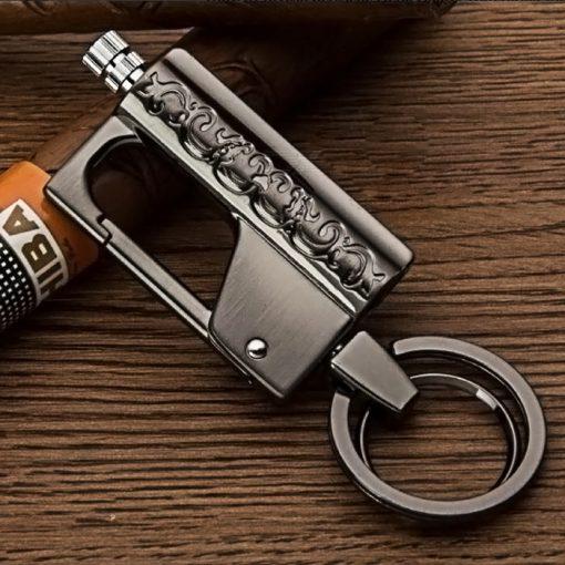 HONEST Stylish Kerosene Metal Lighter Waterproof Outdoor Flint with Keychain - Black