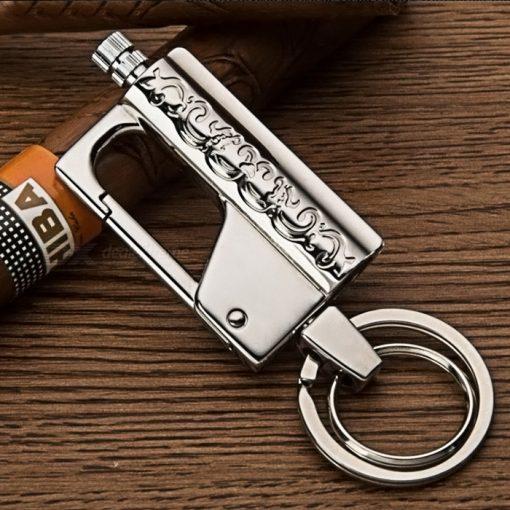 HONEST Stylish Kerosene Metal Lighter Waterproof Outdoor Flint with Keychain - Silver