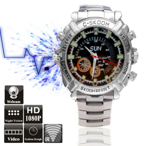 8GB Full HD 1080p Water Resistant Camera Watch with Night Vision - Silver
