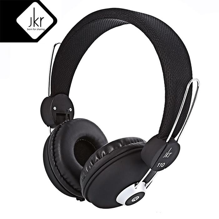 JKR 110 3.5MM Plug Wired Stereo HiFi Music Headphones - Black