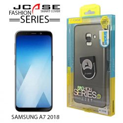 J-Case 360 Samsung A7 2018 Fashion Series Smart Cover with Ring Holder - Grey