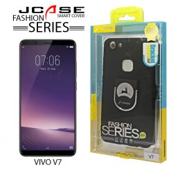 J-Case 360 Vivo V7 Fashion Series Smart Cover with Ring Holder - Black