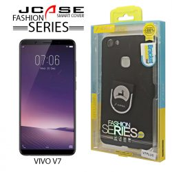 J-Case 360 Vivo V7 Plus Fashion Series Smart Cover with Ring Holder - Black