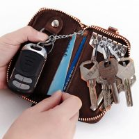 6 Hook Key Holder Leather Wallet - Brown