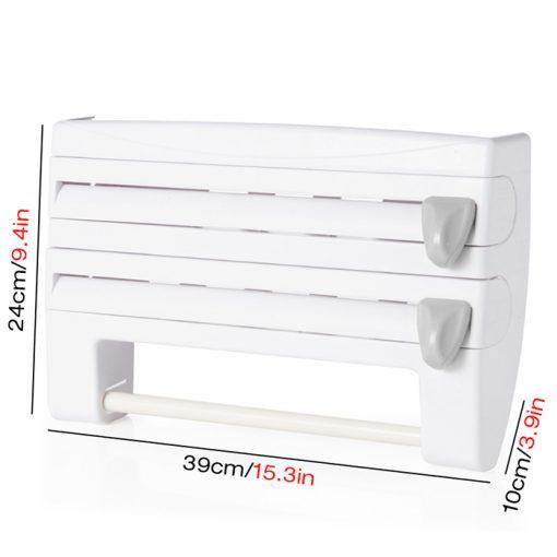 3 in 1 Cling Wrap Aluminum Foil Kitchen Paper Dispenser - White
