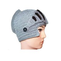 Knitted Knight Hat Crochet - Gray