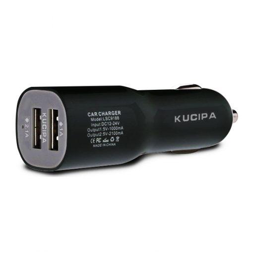 Kucipa Dual USB Ports 2.1A Car Charger Adapter - Black