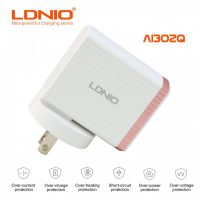 LDNIO AI302Q QC3.0 Extraordinary Intelligent Fast Charger With Micro USB Cable - Rose Gold