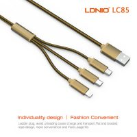LDNIO 3 in 1 Micro and Lightning Cable - Gold