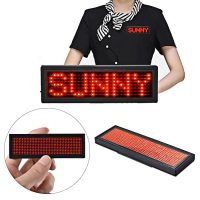 Rechargeable Programmable LED Name Badge Display - Red