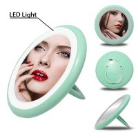 Portable Led Makeup Vanity Mirror With Lamp - Green