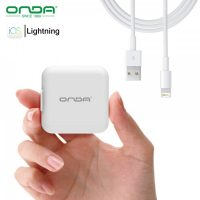 Onda A11 Foldable Fast Charger With Lightning USB Cable - White