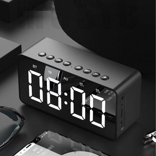 Multifunction Bluetooth Alarm Led Clock Speaker Mirror - Black