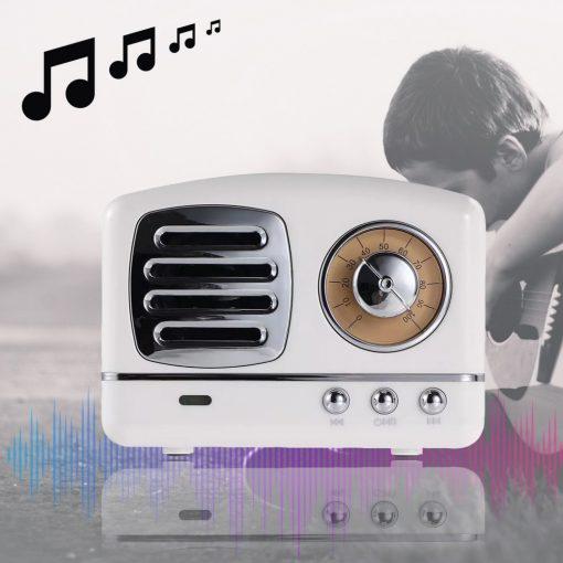 Multifunction Retro Design Bluetooth Speaker - White