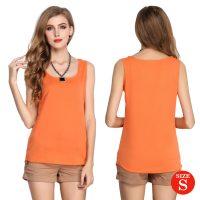 Liva Girl Casual Candy Sleeveless Blouse Small - Orange