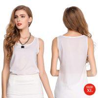 Liva Girl Casual Candy Sleeveless Blouse XL - White