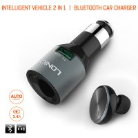 LDNIO Integrated Bluetooth Headset With Car Charger - Black