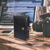 2 in 1 Passport and Card Organizer Wallet Purse - Black