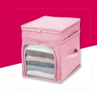 Foldable Fabric Clothes Storage Box Organizer - Pink