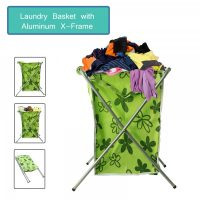 Foldable Metal Tube Laundry Basket - Green