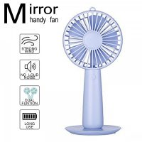 Rechargeable Handy Fan With Mirror - Purple