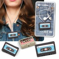 Mini Cassette Tape Cable Tie Cord Earphone Organizer - Black